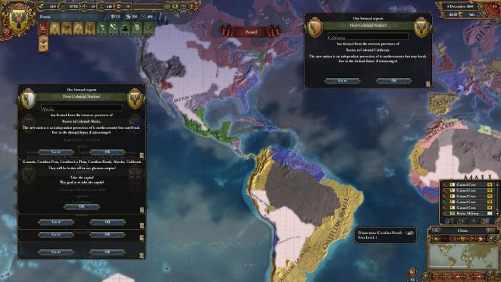 1805年のアメリカ大陸(パッチ1.4植民地国家独立前)