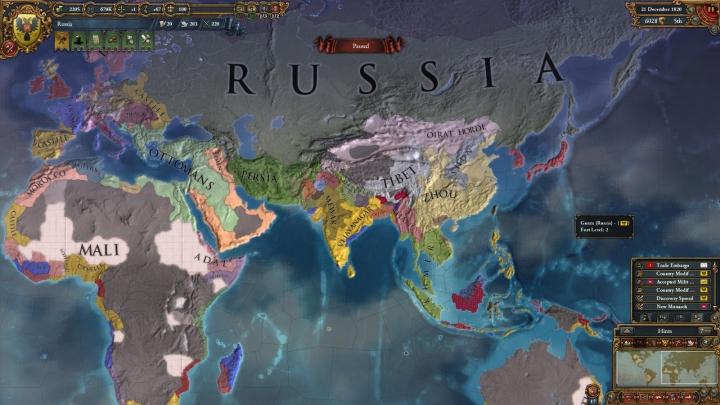 1820年のロシアとユーラシア大陸