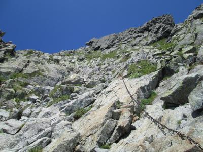 奥穂への登り