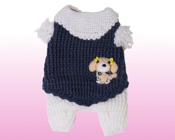 手編み犬服 kawaiiわんちゃん洋服つなぎ1