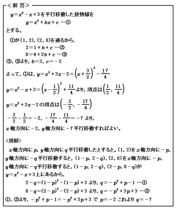 関数 2次関数のグラフの平行移動 演習15 解答