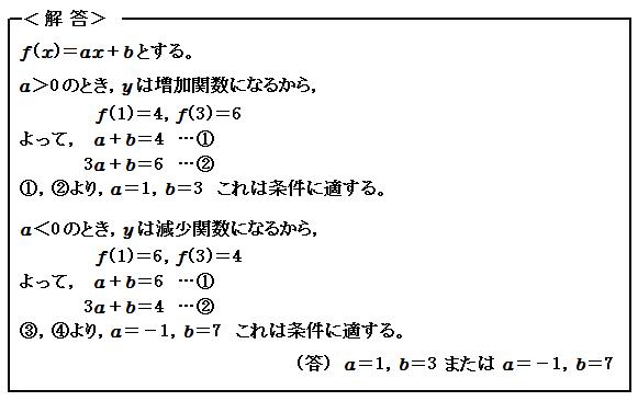 関数 1次関数の決定 例題13 解答
