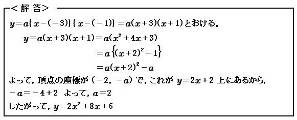 関数 2次関数の決定 例題14 解答