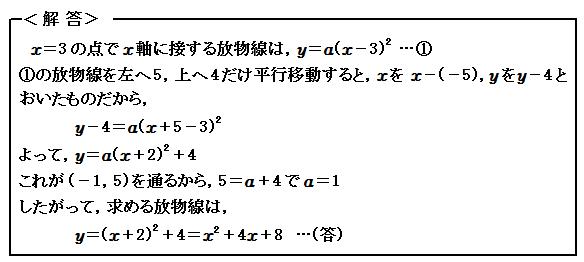 関数 2次関数のグラフの平行移動 例題15 解答