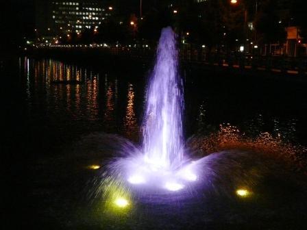 お堀の噴水のライトアップ 8