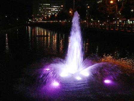 お堀の噴水のライトアップ 9