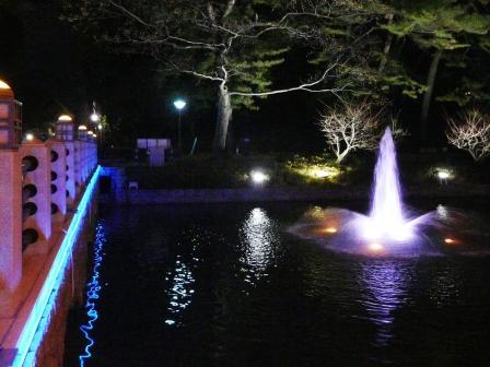 お堀の噴水のライトアップ 12