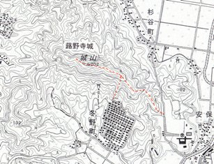 冬野城位置図