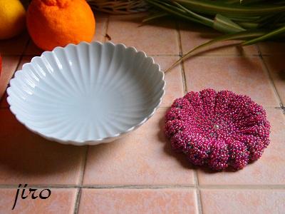 がま口-和モダン菊花と皿