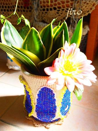 ポットドレス(鉢カバー)- クルミ葉