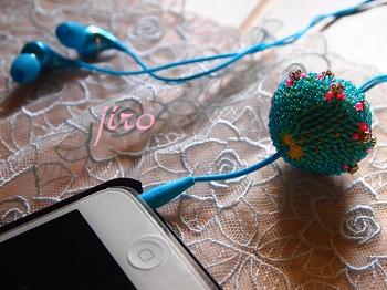ビーズ編みイヤホンボール-カトレア4