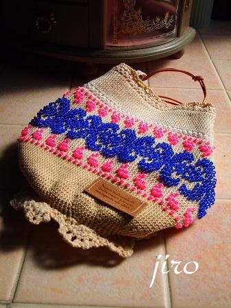 ビーズ編みバッグ- ファンシーポーチ