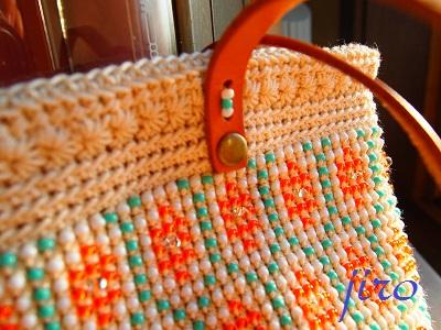 ビーズ編みバッグ-フォークロア革ひもショルダー (2)