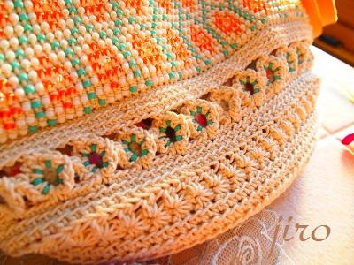 ビーズ編みバッグ-フォークロア革ひもショルダー (3)