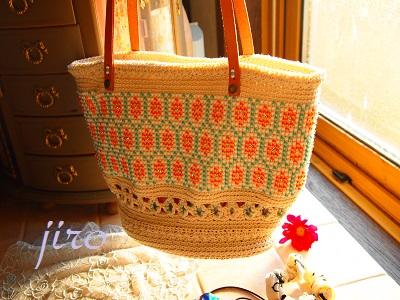 ビーズ編みバッグ-フォークロア革ひもショルダー (8)
