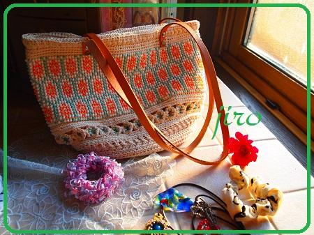 ビーズ編みバッグ-フォークロア革ひもショルダー