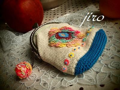 ビーズ編みがま口-スパンコール試作(花)7