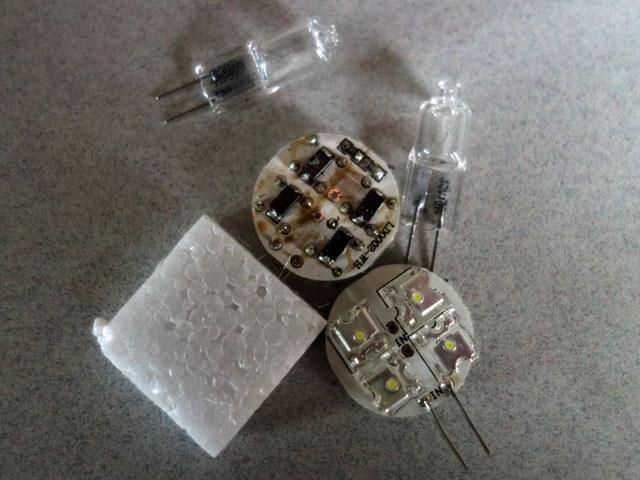 LEDとハロゲンランプ