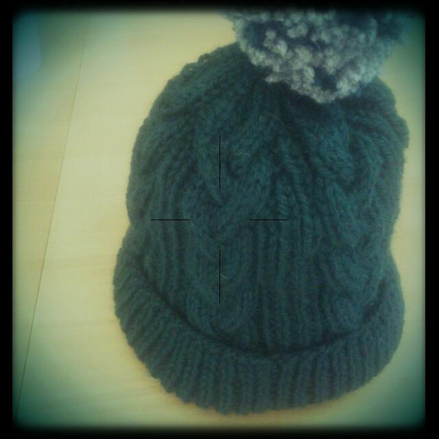 グリーンニット帽