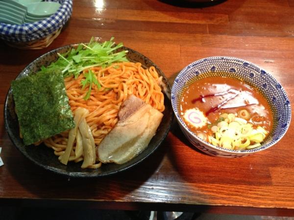 麺屋にぼすけ本舗 濃厚辛味噌つけ麺(大盛り) 8月限定
