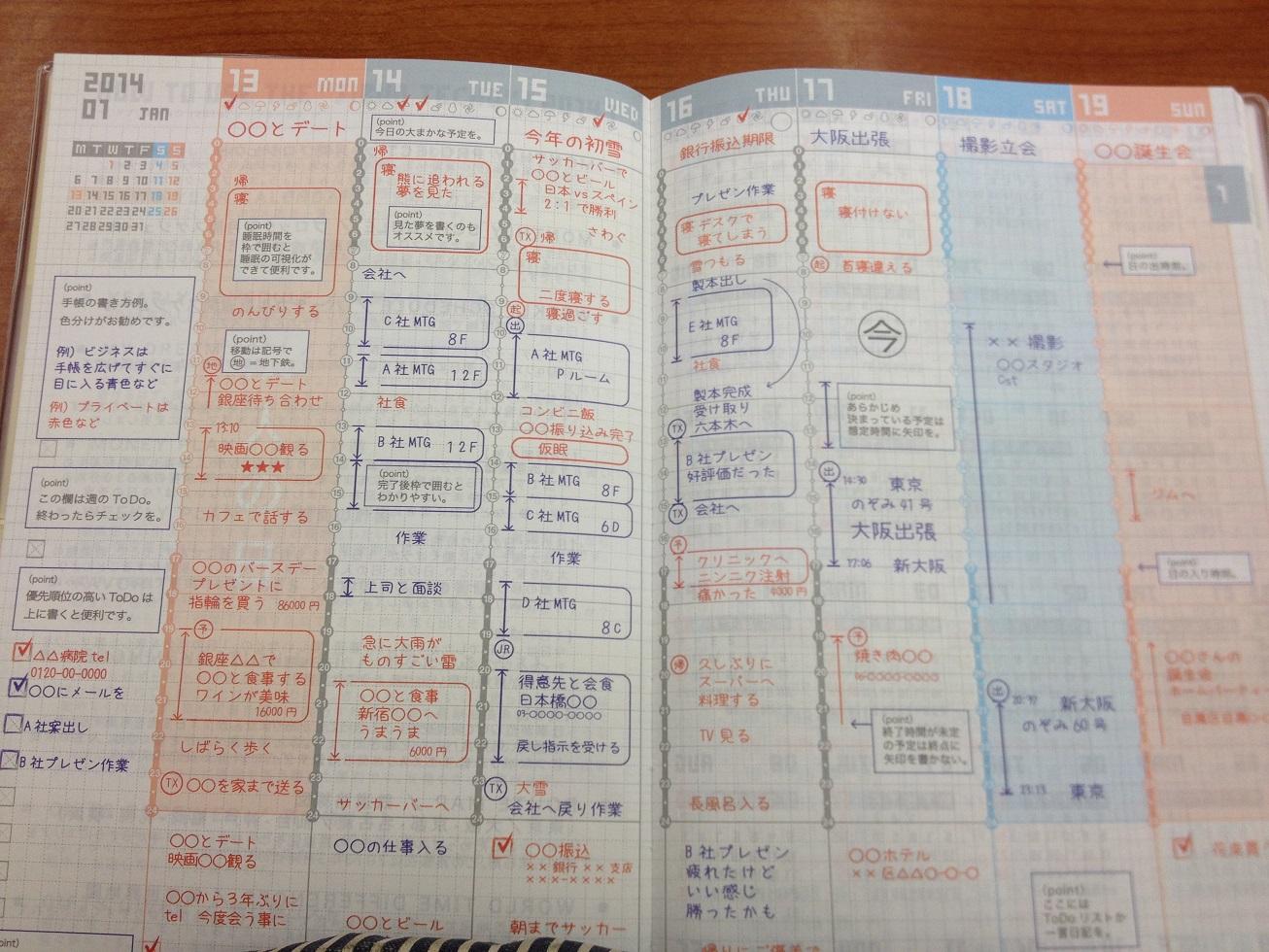 こちらでは3色の色分けで記入 ... : 一週間のスケジュール : すべての講義