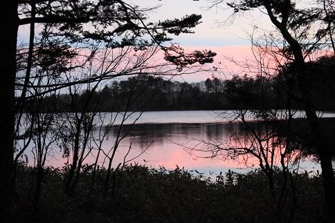 湯ノ湖の夕日
