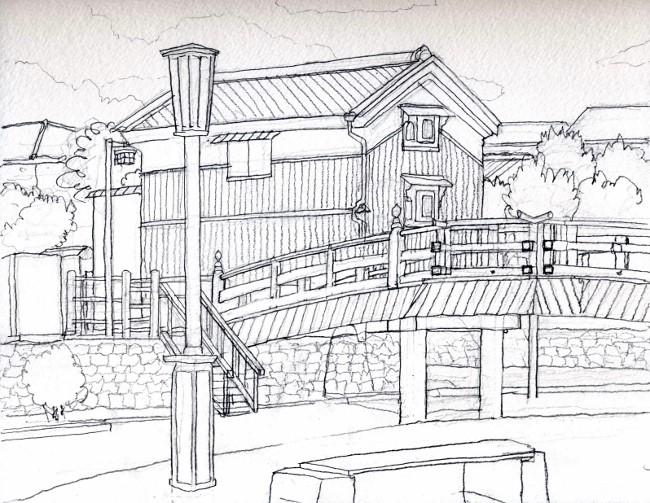 安居橋 デッサン (650x503)