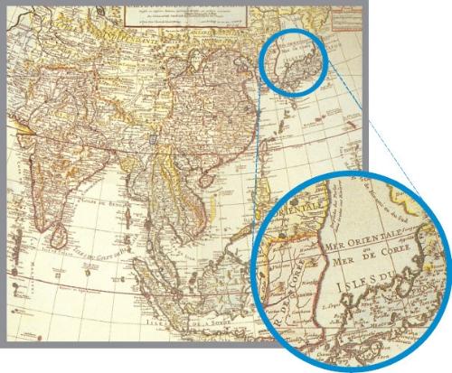 東海併記法案 東海表記西洋古地図