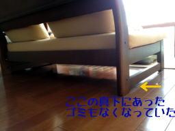 ソファーの下は掃除機のヘッドを斜めに入れるので傷だらけです