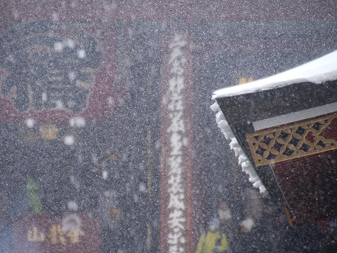 屋根に降り積もる雪 東京・浅草寺にて