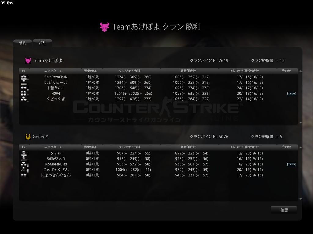 Teamあげぽよ16-9 Lose
