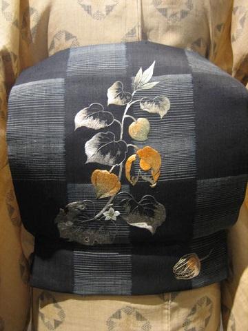 竹花万貴さん日本刺繍帯ほおづき