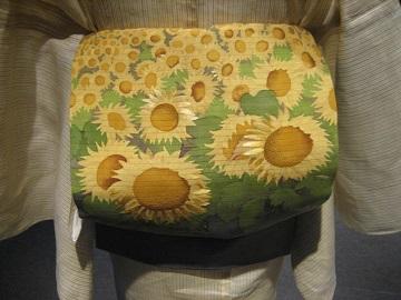 竹花万貴さん日本刺繍帯ひまわり