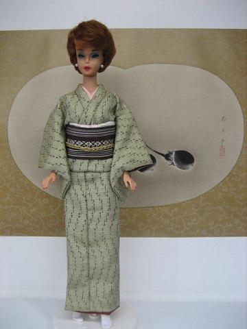 バービー 山葵色の紬1