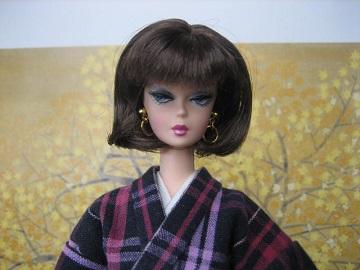 バービー 着物 格子木綿の袷3