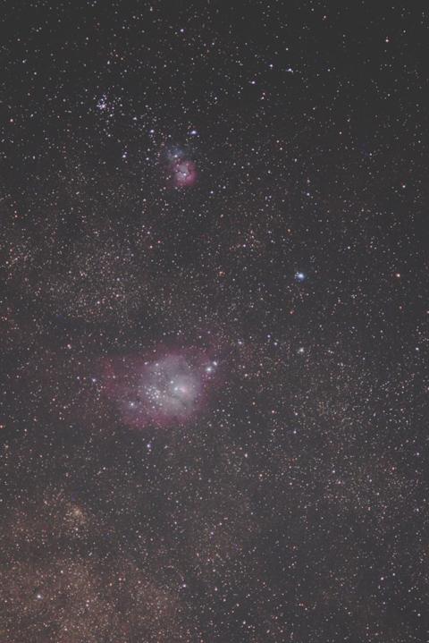 自宅前M8, M20(干潟星雲と三裂星雲)