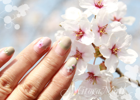 桜ネイル2013 くすみクリームのまんまるフレンチ