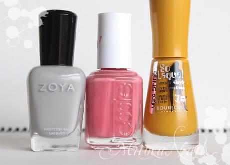 Zoya#ZP541 Dove(ドーヴ) essie#645 My Place or Yours(マイ・プレイス・オア・ユアズ) Burjois ソーラック ウルトラシャイン#39 Jaune trendy