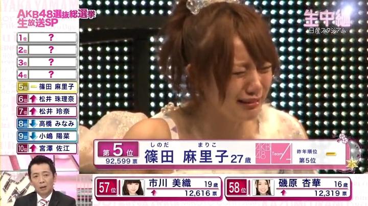 2013年AKB、篠田麻里子が退団宣言!退団を聞いて泣き崩れる高橋みなみ