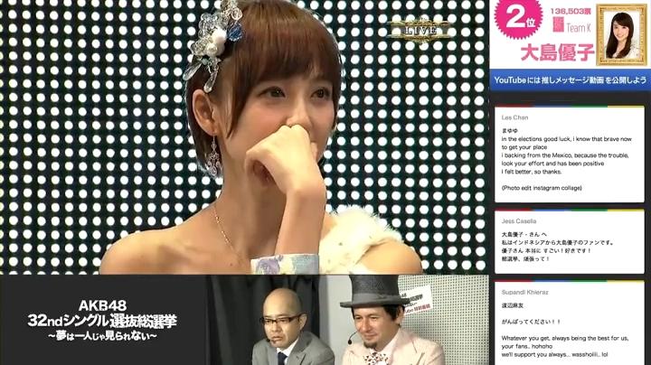 2013年AKB総選挙、指原優勝に驚く篠田麻里子