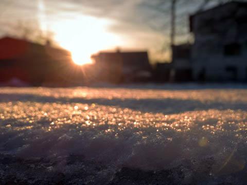 雪 積雪 夕日 風景