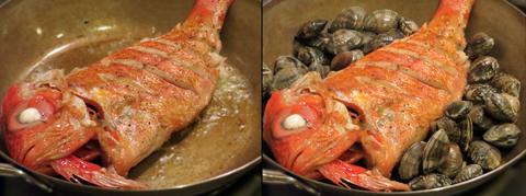 金目鯛をソテーしてアサリを加える