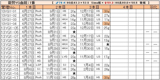 幼虫管理表13YG1