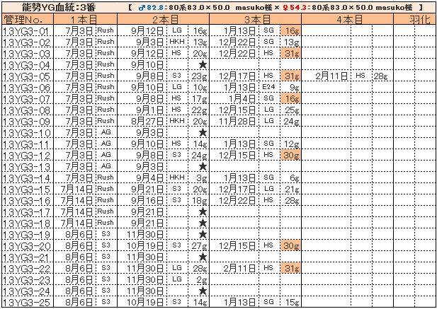 幼虫管理表13YG3最新