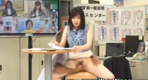 【無料動画】ニュースキャスターの『局穴』を本番中に前戯ww