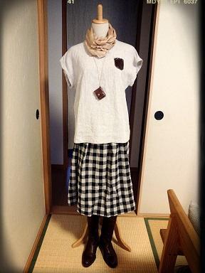 ブロックチェックフレアースカート