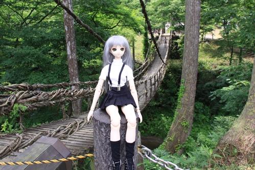 かずら橋を背景に