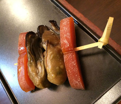 牡蠣の薫製とからすみ
