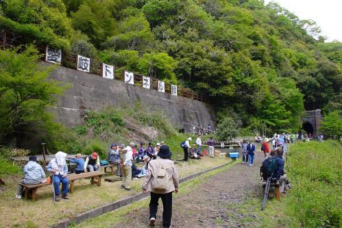 愛岐トンネル群 第11回特別公開・4号-5号トンネル間の横断幕