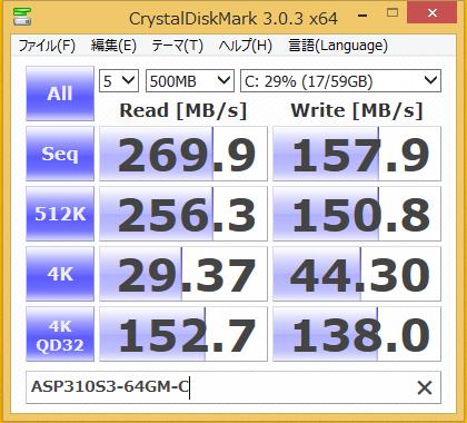 ASP310S3-64GM-C ベンチ結果